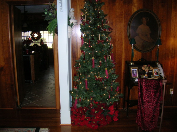 Merry Christmas, Living Room and Dining Room decorated, Dining Room going into kitchen , Holidays Design