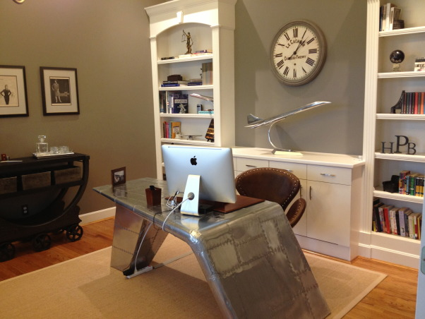 1940's Inspired Aviation Home Office, This office was a large open space before the project began. The walls were a bright yellow and the room was boring. We transformed it into a 1940's Aviation inspired home office that is cozy, functional, and visually stunning., Home Offices Design