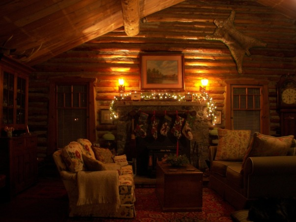 Christmas At The Cabin, The Living Room decorated for Christmas in our C1900 log cabin in Wyoming, Christmas At Our  c1900 Cabin In the Big Horn Mountains in Wyoming.    , Living Rooms Design