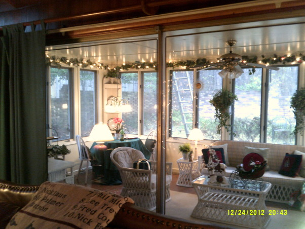 Merry Christmas, Living Room and Dining Room decorated, View from family room to the sunroom, Holidays Design