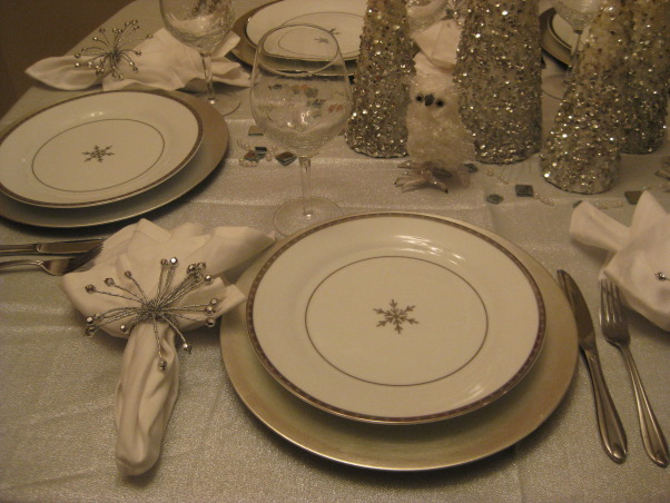 Christmas Silver and White Tablescape 2012, I tried to match my tablescape to my christmas tree theme., My new snowflake dinnerware purchased this year, Holidays Design