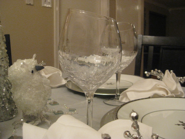 Christmas Silver and White Tablescape 2012, I tried to match my tablescape to my christmas tree theme., also purchased these gorgeous crackled slanted wine glasses from Pier One i absolutely love them !!, Holidays Design