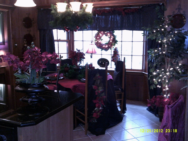 Merry Christmas, Living Room and Dining Room decorated, Breakfast room, Holidays Design