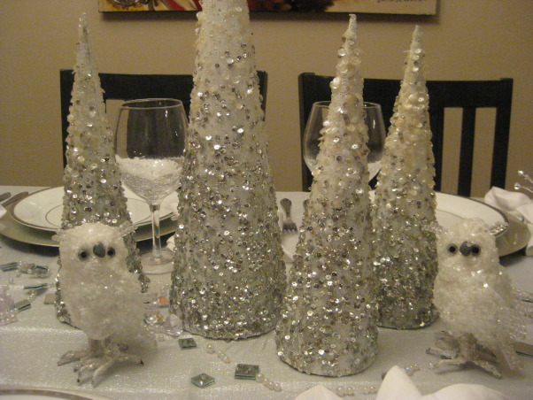 Christmas Silver and White Tablescape 2012, I tried to match my tablescape to my christmas tree theme., My old white christmas trees came in handy this year., Holidays Design