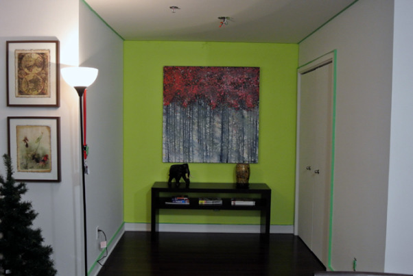 Color help, Hi,  I just bought my condo and i need help on deciding on color paint for my walls. I would like to have one accent wall ( or two if thats ok ?) , So here is the final result, the side walls i still have to paint beige but does the green work ????, Living Rooms Design