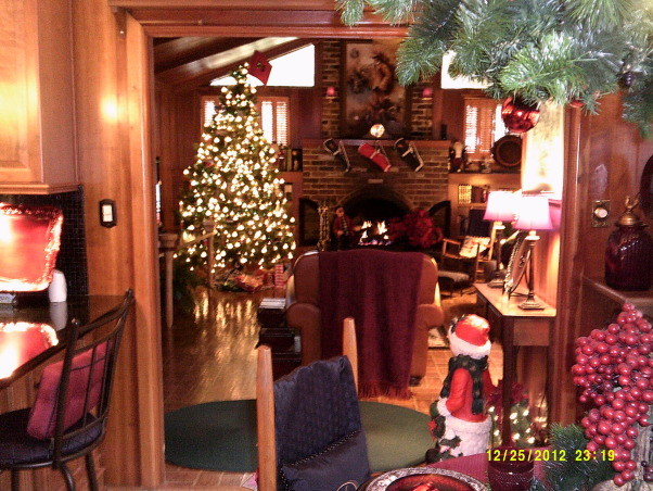 Merry Christmas, Living Room and Dining Room decorated, Another view from breakfast room to Family room, Holidays Design