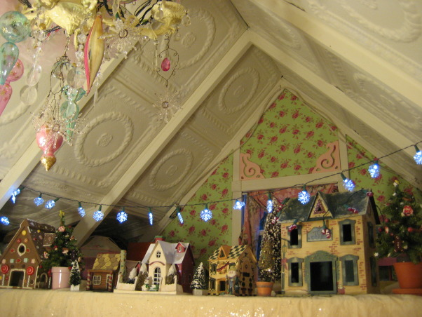 Santa's Workshop and Mrs. Claus' Candy Cane Kitchen, My potting shed is transformed into a magical extension of the North Pole at Christmas., Winter village in the loft. The ceiling is covered in antique tin ceiling tiles from Charleston, SC.        , Holidays Design