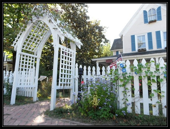 Gothic Arbor, Master woodworker Peter Alexander designed and built this extraordinary arbor influenced by English litchgates. , Gardens Design