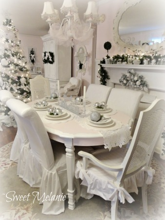 A White Christmas, This years theme was a White Christmas all on a tight budget! http://sweetmelanie.blogspot.com/, The theme went along well troughout the two open spaces.   , Holidays Design
