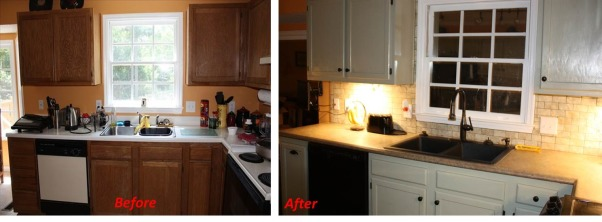 Kitchen Remodeled , We recently remodeled our kitchen. I still have some light changes to make. Here are before and after photos., Before and after remodeled kitchen. New counter tops are from Wilson Art Bengal Slate, flooring is Allure planks, Kitchens Design