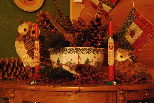 "Our Log Home Christmas 2012, It has been a few years since I have posted any pix of the interior decorations here at our log home deep in the secluded woods in the North Georgia Mountains. Thought I should get ""unlazy"" and post a few., Top of the china cabinet.  I love owls...and pine cones!      , Holidays Design"