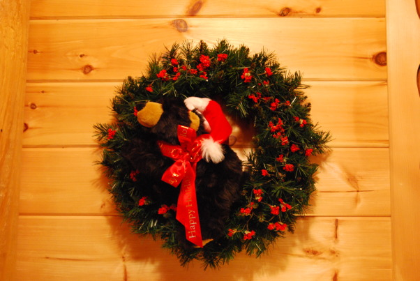 "Our Log Home Christmas 2012, It has been a few years since I have posted any pix of the interior decorations here at our log home deep in the secluded woods in the North Georgia Mountains. Thought I should get ""unlazy"" and post a few., Log home Christmas wreath, complete with little black bear.           , Holidays Design"