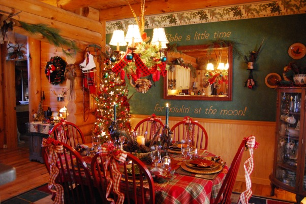 "Our Log Home Christmas 2012, It has been a few years since I have posted any pix of the interior decorations here at our log home deep in the secluded woods in the North Georgia Mountains. Thought I should get ""unlazy"" and post a few., Log home dining room.  I like to mix country with a touch of more rustic log decor.  Nice country red plaid table cloth, plaid ribbons, outdoorsy tablescape.             , Holidays Design"