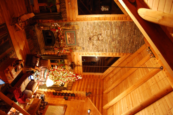 "Our Log Home Christmas 2012, It has been a few years since I have posted any pix of the interior decorations here at our log home deep in the secluded woods in the North Georgia Mountains. Thought I should get ""unlazy"" and post a few., Great room tree and fireplace viewed from stairs to loft            , Holidays Design"