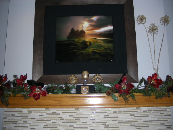 """Faberge Egg"" Christmas Mantelpiece, My homage to the lovely Faberge eggs.  , Red dogwood blossoms and pine cone boughs surround the ""Faberge eggs"". There is a handmade small tile in front of them from a gallery in Santa Fe.  , Living Rooms Design"