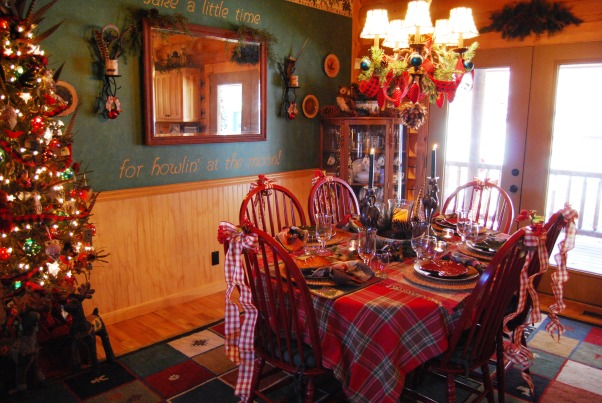 "Our Log Home Christmas 2012, It has been a few years since I have posted any pix of the interior decorations here at our log home deep in the secluded woods in the North Georgia Mountains. Thought I should get ""unlazy"" and post a few., Another view of the dining room and table setting.             , Holidays Design"