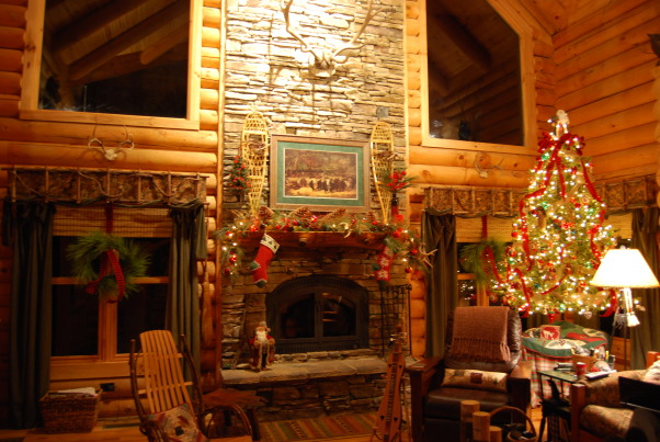 "Our Log Home Christmas 2012, It has been a few years since I have posted any pix of the interior decorations here at our log home deep in the secluded woods in the North Georgia Mountains. Thought I should get ""unlazy"" and post a few., Close up of decorated fireplace mantle.  Too bad it was too hot outside to have a nice warm fire when this picture was taken!            , Holidays Design"