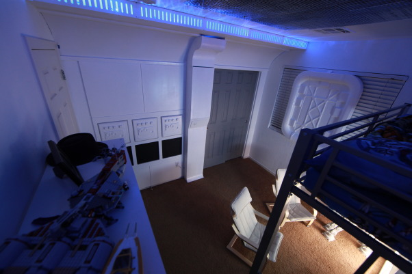 Star Wars Room, My Son's room which was inspired by the interior of the Tantive from Star Wars: A New Hope. A Large portion of the room was built by our good friend JD from JProStudios.com . This isn't a commercial. Just helping a friend get some exposure. Thanks for looking., Boys' Rooms Design