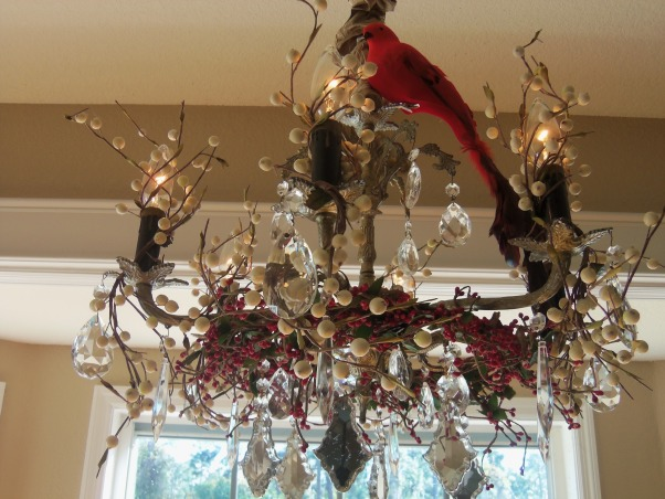 Holiday Chandeliers, During the holidays, my favorite thing to decorate are my crystal chandeliers.I Love birds and anything nature and I Love the response I get from my guests!!!, By weaving strands of holiday berries throughout my chandeliers, they transform from elegant to wondrous and fun!! I top them off with cream berries and twigs wrapped loosely around the bulbs and finally I clip on a sweet bird! , Holidays Design