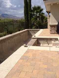 Lap pool in Las Vegas, This is very small yard facing golf course, with great views of Red Rock Mountains in Las Vegas. We had limited space to work with but wanted lap pool for swimming. The pool is 8' X 40'  maximum depth 4'- with hot tub. The  overall space has room for dining, lounging, swimming all in very condensed space, we managed to get in a planting bed or two., Pools   Design
