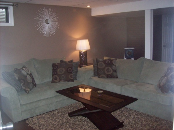 Basement Family Room, We recently finished a family room in our once boring old cement basement.  There is still some finishing touches to complete but we are already enjoying watching movies and playing fooseball!, Basements Design