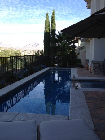 Lap pool in Las Vegas, This is very small yard facing golf course, with great views of Red Rock Mountains in Las Vegas. We had limited space to work with but wanted lap pool for swimming. The pool is 8' X 40'  maximum depth 4'- with hot tub. The  overall space has room for dining, lounging, swimming all in very condensed space, we managed to get in a planting bed or two., cypress tree at end accents lines of pool, Pools   Design