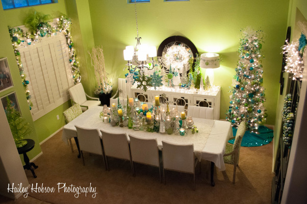 Christmas Dining Room, My mother is an amazing home decorator! This is some of the Winter Wonderland she creates in every room of her house at Christmas time - this is just the dining room! My favorite part!, My mothers dining room at Christmas, Dining Rooms Design