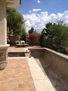 Lap pool in Las Vegas, This is very small yard facing golf course, with great views of Red Rock Mountains in Las Vegas. We had limited space to work with but wanted lap pool for swimming. The pool is 8' X 40'  maximum depth 4'- with hot tub. The  overall space has room for dining, lounging, swimming all in very condensed space, we managed to get in a planting bed or two., the pool awaiting plaster and water  , Pools   Design