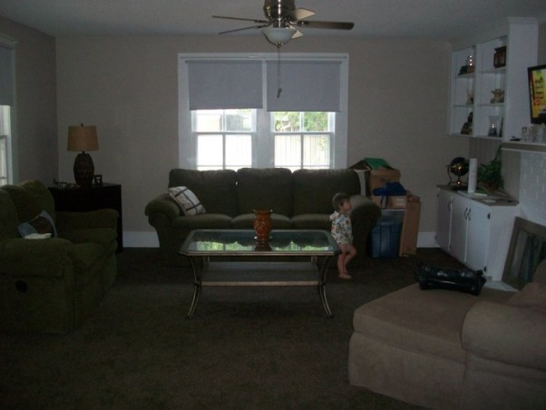 Living room trouble, I am in the midst of redecorating our living room. We are going with a coastal cottage vibe. I plan on painting the walls an almost white shade and using a hunter green (like the sofas), butter yellow and sky blue color palette to make it pop. My biggest problem is our wall with the fireplace. We have a built in to the left of the fireplace but just an open wall to the right, leaving the room very left side heavy. I would love to one day build a matching built in to the other side, but right now its not an option. I desperately need ideas for the right side of the fireplace and any suggestions on furniture placement. Just to help, we no longer have the coffee table or the lounge chair that is in the pictures, just the sofa and love seat., View from dining room door, Living Rooms Design