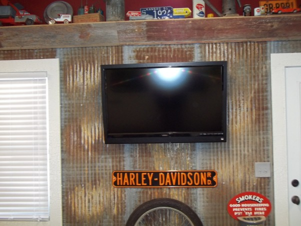 ManCave Poker Room, Renovated double car garage we made into our ManCave/poker room, I cut strips out of the Sheetrock to run my wiring prior to hanging the barn metal for flat screen and outlets., Other Spaces Design