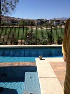 Lap pool in Las Vegas, This is very small yard facing golf course, with great views of Red Rock Mountains in Las Vegas. We had limited space to work with but wanted lap pool for swimming. The pool is 8' X 40'  maximum depth 4'- with hot tub. The  overall space has room for dining, lounging, swimming all in very condensed space, we managed to get in a planting bed or two., a sunny day with golf course, Pools   Design