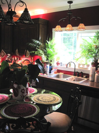 "Updated '50s kitchen, This kitchen was gutted & replaced with new hand designed cabinets, new 18"" ceramic tile flooring, new window, double sink, pantry, fresh paint & stained glass lighting., Lots of lighting from the new window. Deep double sinks for cleaning large pots., Kitchens Design"