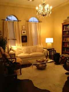 white living room/library las vegas, this room lets off onto inner courtyard, with two french doors. We replaced  carpeted floors with expresso wood floors, added drapes and added fountain in courtyard, Living Rooms   Design