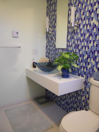 LOG CABIN to ROCKIN' BLUE, We took this small upstairs hall bathroom done in early Abe Lincoln and created  a contemporary master bathroom after combining the two small upstairs bedrooms in to a single large master bedroom. Rockin the glass wall tile, Floating vanity  - Opens up a very small space  , Bathrooms Design