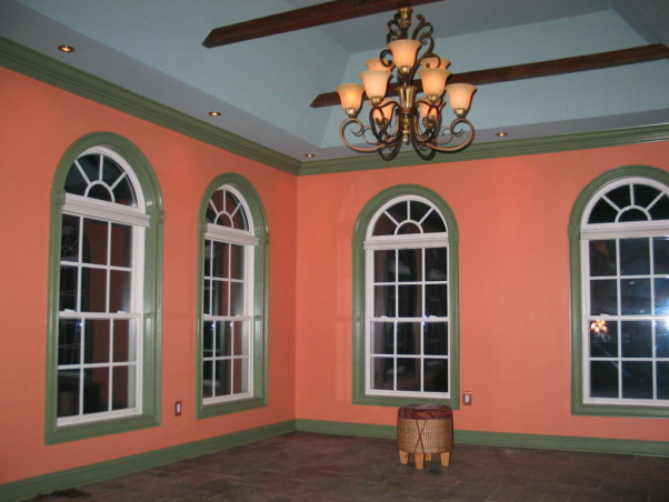 Color Restraint? What Color Restraint?, This space went from builder's white to the colorful tropical paradise. Why wait to go on vacation? The other half of this space is a home office - ironic, right? - and was too cluttered to show. , Living Rooms Design