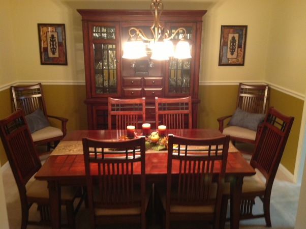 New Dining Room, Newly decorated dining room with a slight music theme., After Picture - New Talbe and China Cabinet , Dining Rooms Design