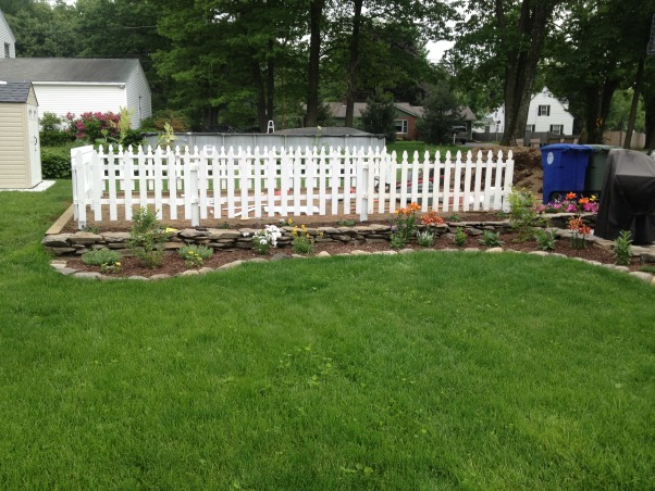 Tommy's passion, My passion and tranquility. My escape from reality. , after constructing all walls and garden beds installed white picket fence for garden  , Gardens Design