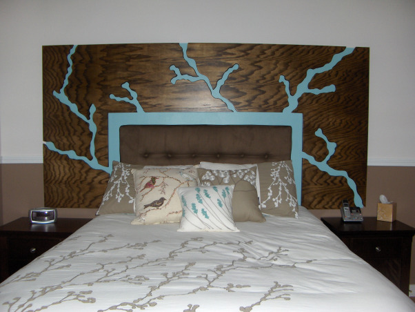 Bedroom with Floating Headboard, This space took inspiration from the bedding design of branches and leaves., Floating headboard with light off., Bedrooms Design