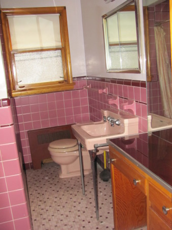 Pepto Bismol Bathroom! , Tiny 3 by 5 Pepto Bathroom, in a 8 bedroom house. There are two pink and two green just like this. , The stylish 1950's bathroom is one of four. Two others are in a beautiful olive green! Ugh. There is a large room behind each bath. Someday I will update or hopefully get HGTV'd! , Bathrooms Design