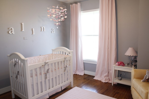 Pink & Gray Alina's Baby Nursery, Pink and Gray Nursery for my Baby Girl, Baby's Dream Brie Crib, Pottery Barn Kids Mobile, Restoration Hardware Baby & Child Curtains in Petal, Nurseries Design