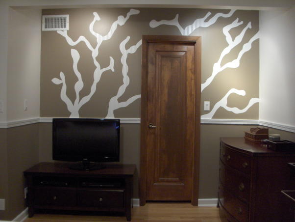 Bedroom with Floating Headboard, This space took inspiration from the bedding design of branches and leaves., Mural I painted, Bedrooms Design