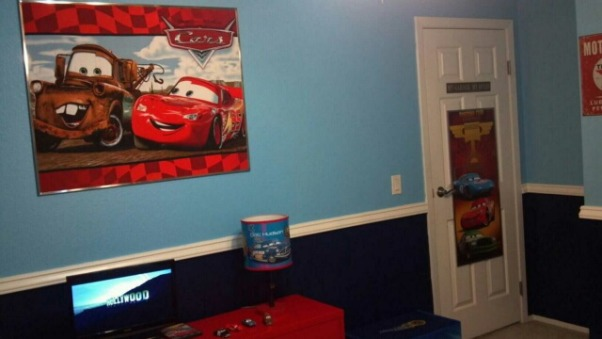 Disney's Cars Room for Felix , Disney Cars to the max! This room is for my 3 year old little boy. This room was done on a small budget. I purchased most of the furniure off Craigslist. My husband painted a lot of things to match the decor. With exception of the decals ( decals also purchased off craigslist) most of the decor was DIY. This room took a long time to complete because waiting for the deals took patience. It was sooo worth it seeing my little boys expression when he walked into his new room. We kept the project from him so he was totally shocked. , Boys' Rooms Design