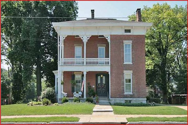 Historic 1855 Italianate in need of TLC, We bought this house two years ago and have been dividing our time between the inside of the house and the lawn and gardens.  I am the yard person in this family and since moving here I have hurt my foot and I really need help with ideas on what to do with the steep side-yard slope to avoid having to mow that area., This is one of the real estate listing photos showing what the front yard looked like the summer of 2010 when we purchased the house.  Note that there were no shrubs or trees on the entire right side of the house.  Only a area of ground covering vinca all over the grass.            , Yards Design