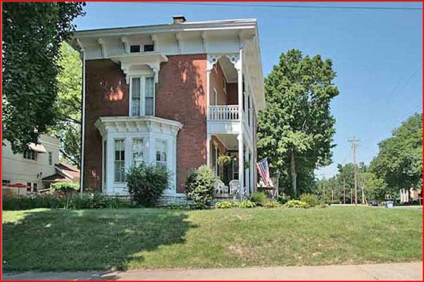 Historic 1855 Italianate in need of TLC, We bought this house two years ago and have been dividing our time between the inside of the house and the lawn and gardens.  I am the yard person in this family and since moving here I have hurt my foot and I really need help with ideas on what to do with the steep side-yard slope to avoid having to mow that area., Another photo of what it did look like showing a different view of the sloped side yard and that bed from which I removed the hostas and lilies.            , Yards Design
