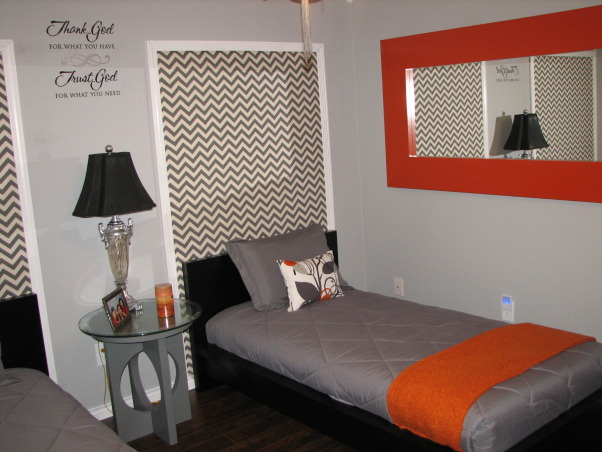 Guest Getaway for the Grand Kids , Just wanted a fun room that would accommodate both Grandson/Granddaughter while still allowing my college age daughter to come home and not be in a kiddie room.  The low profile beds  are great with gray and orange colors accents.  I wanted something a little different over the beds, so I framed out area and use a zigzag fabric.  I made the curtains in a coordinating fabric.  The orange mirror is a nice pop of color., orange mirror for a pop of color, Bedrooms Design