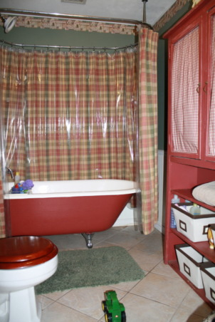 Guest Bathroom, This space is the only put together space we have in the house - I love this bathroom, but when I look at these picture maybe I need to change the shower curtain. , Just another view , Bathrooms Design