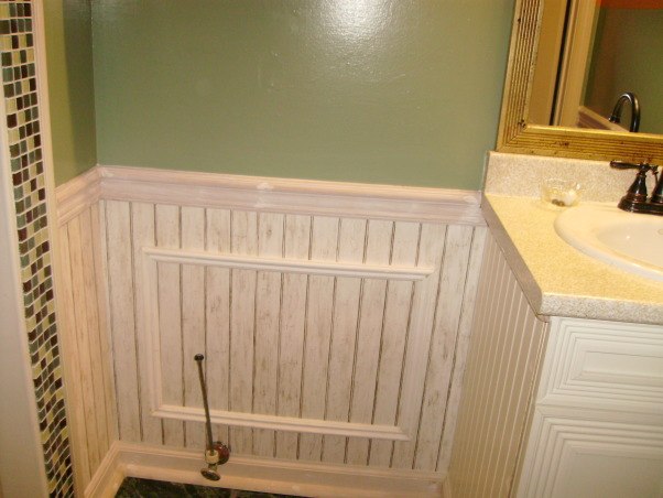 Energy and Calm Powder Room, I have my idea and got a beadboard wallpaper, trimming as known as paneling, chair railing and baseboard. , Bathrooms Design