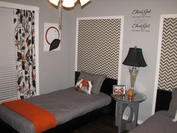 Guest Getaway for the Grand Kids , Just wanted a fun room that would accommodate both Grandson/Granddaughter while still allowing my college age daughter to come home and not be in a kiddie room.  The low profile beds  are great with gray and orange colors accents.  I wanted something a little different over the beds, so I framed out area and use a zigzag fabric.  I made the curtains in a coordinating fabric.  The orange mirror is a nice pop of color., low profile beds, Bedrooms Design