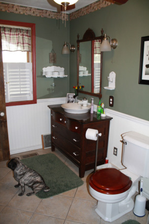 Guest Bathroom, This space is the only put together space we have in the house - I love this bathroom, but when I look at these picture maybe I need to change the shower curtain. , Here is the dresser that was converted into a sink but still has functing drawers - I just love this   , Bathrooms Design