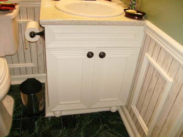 Energy and Calm Powder Room, It's facelift cabinet and saving an old cabinet. , Bathrooms Design
